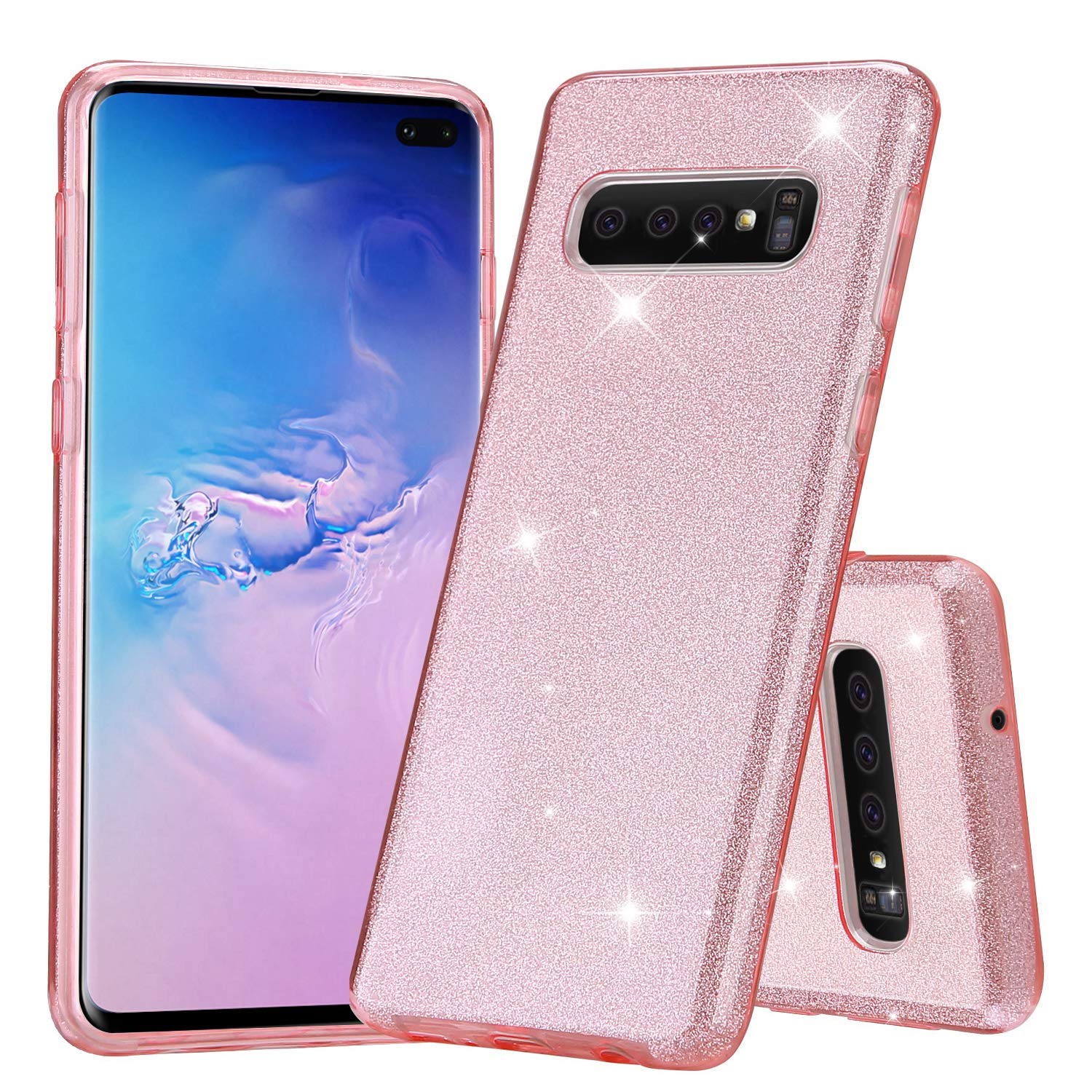 ProCase Galaxy S10 Plus Glitter Pink Case, Cute Sparkle Bling Luxury Soft Bumper Case Protective Cover (Supports Wireless Charging) for Girls Women ...