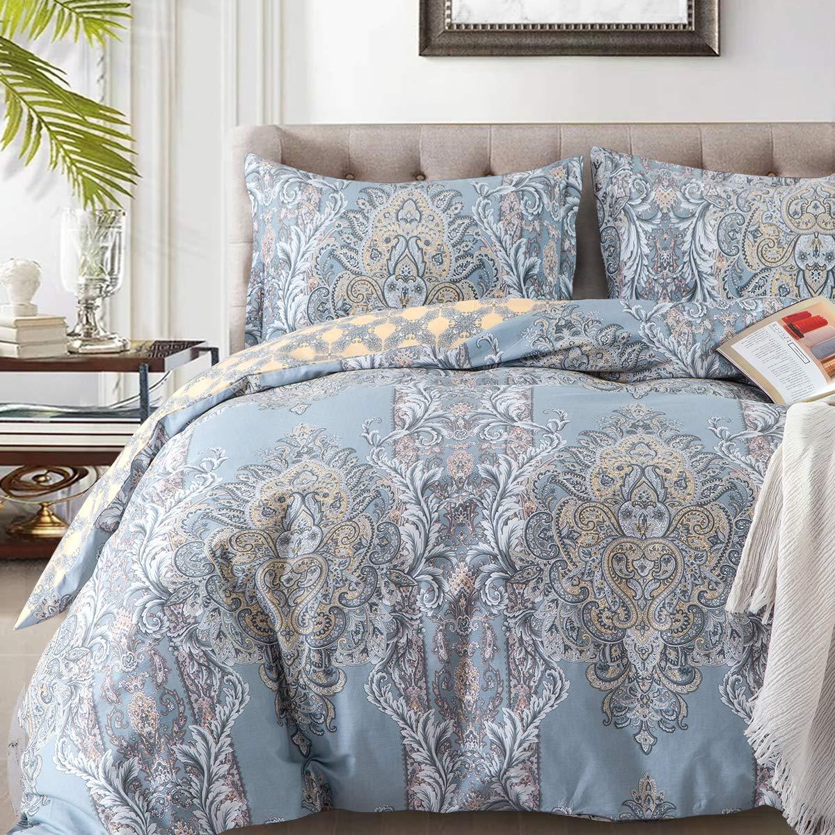 Duvet Covers Sets Cotton Queen Luxury Paisley Damask Medallion -1000TC Egyptian Cotton Duvet Cover- ReversiblePercale Weave Comforter Cover Set-3pcs Soft Breathable Bedding(Queen,Light Blue Floral)
