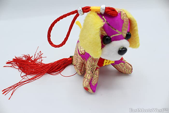 Chinese Feng Shui Protection Zodiac Year of Dog Silk Look Embroidered Stuffed Animal Prosperity Dog Tassel Hanging Charm (Purple)
