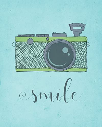 Amazon.com: Green Camera Art Print - Smile Art Print - Modern Quote ...