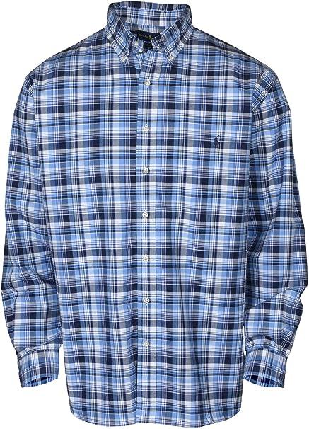 Polo Ralph Lauren Men/'s Blue Multi Button Front Check Flannel Performance Shirt