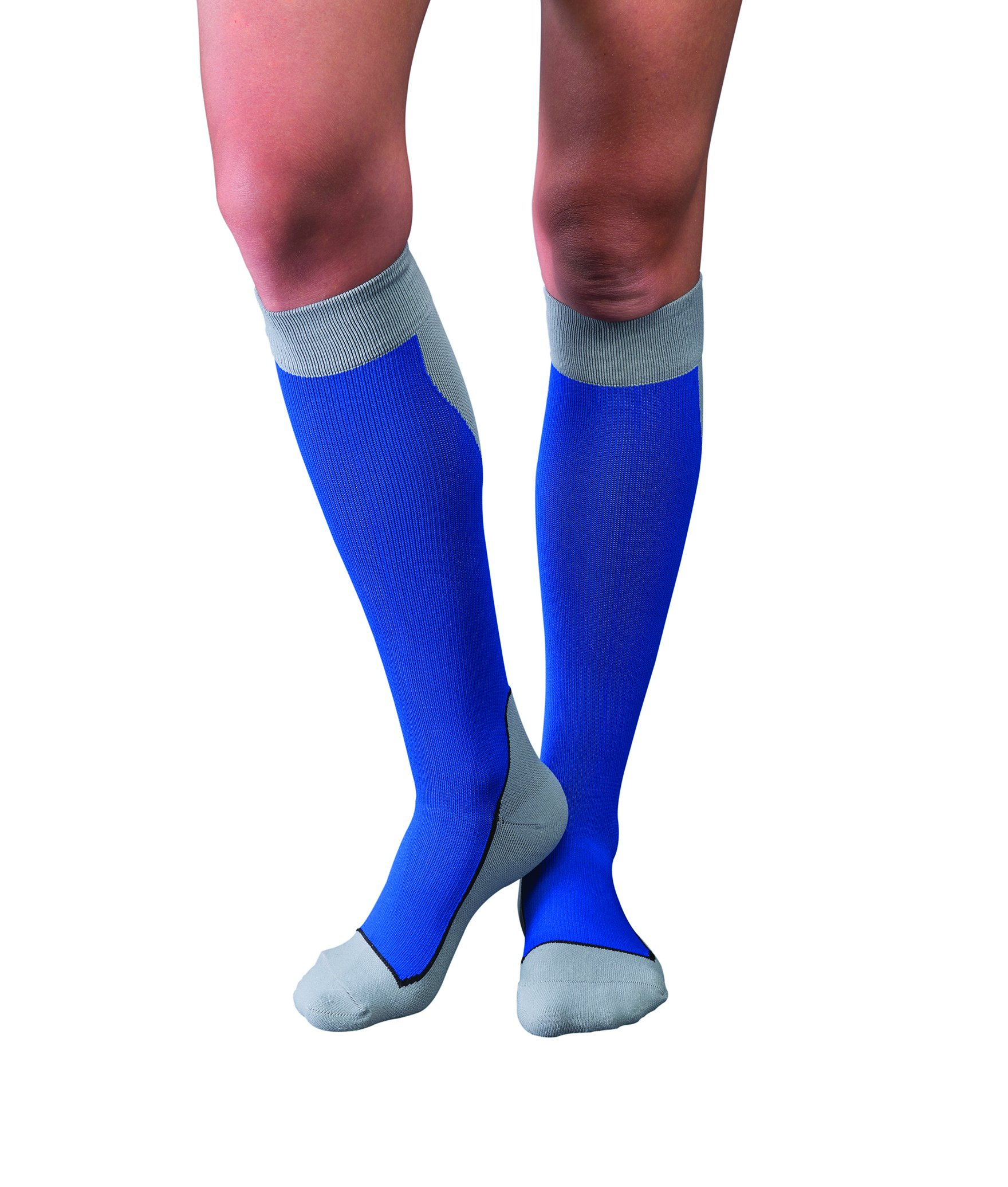JOBST Sport Knee High 15-20 mmHg Compression Socks, Royal Blue/Grey,
