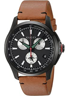 Gucci Swiss Quartz Stainless Steel and Leather Dress Brown Mens Watch(Model: YA126271)