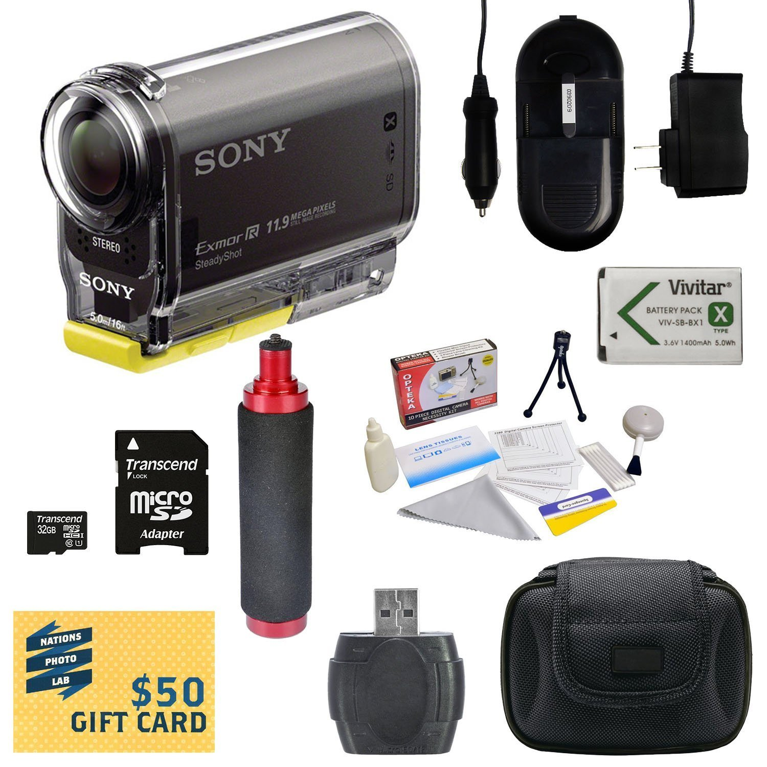 Sony HDR-AS30V HD POV Action Camcorder with 47stPhoto Advanced Accessory Kit Includes - 32GB High-Speed Micro SD Card + Card Reader + NP-BX1 1400mAh Li-ion Battery + AC/DC Battery Charger + Stabilizing Handgrip + Hard Shell Carrying Case + Lens Cleaning K by 47th Street Photo