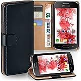 Pochette OneFlow pour Samsung Galaxy S Duos / S Duos 2 housse Cover avec fentes pour cartes | Flip Case étui housse téléphone portable à rabat | Pochette téléphone portable étui de protection accessoires téléphone portable protection bumper en DEEP-BLACK