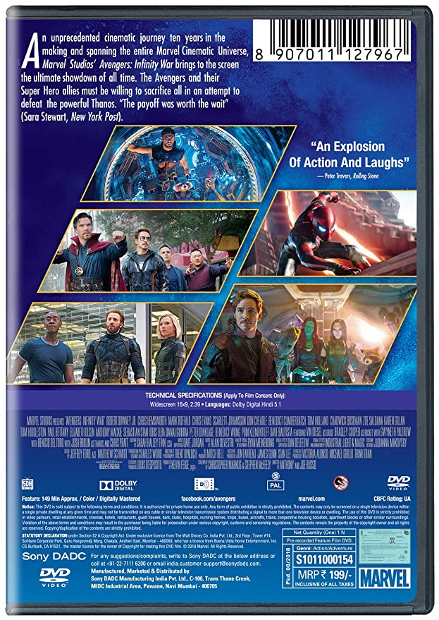 Amazon in: Buy Avengers: Infinity War - Hindi DVD DVD, Blu