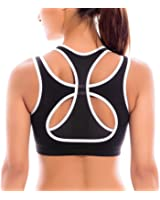 SYROKAN Women's High Impact Full Support Workout Powerback Yoga Sports Bra Top