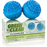 Reusable Hypoallergenic Non-Toxic Green Clean Eco Washer Laundry Balls - Environmentally Friendly All Natural Alternative Laundry Detergent, Eco Friendly and Chemical Free (Pack of 2)