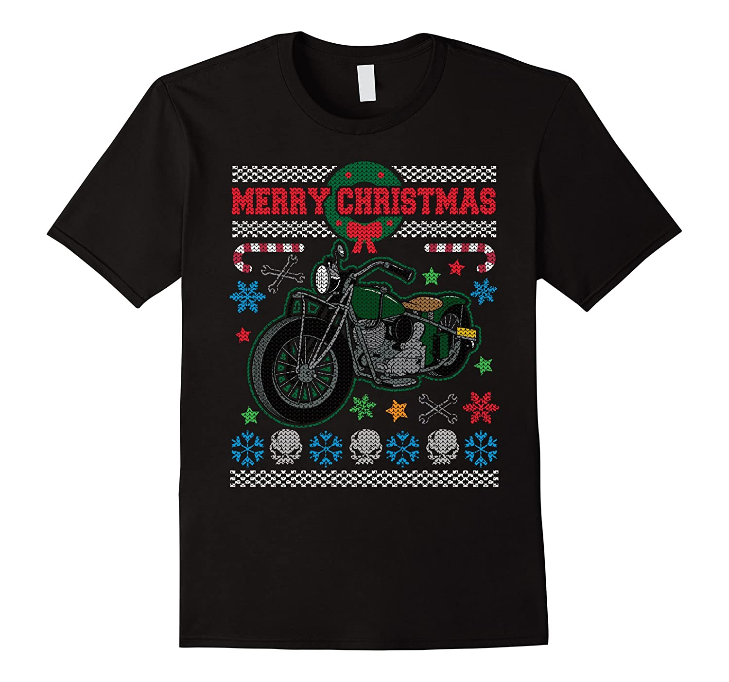 Merry Christmas Vintage Motorcycle Ugly 2 T-shirt