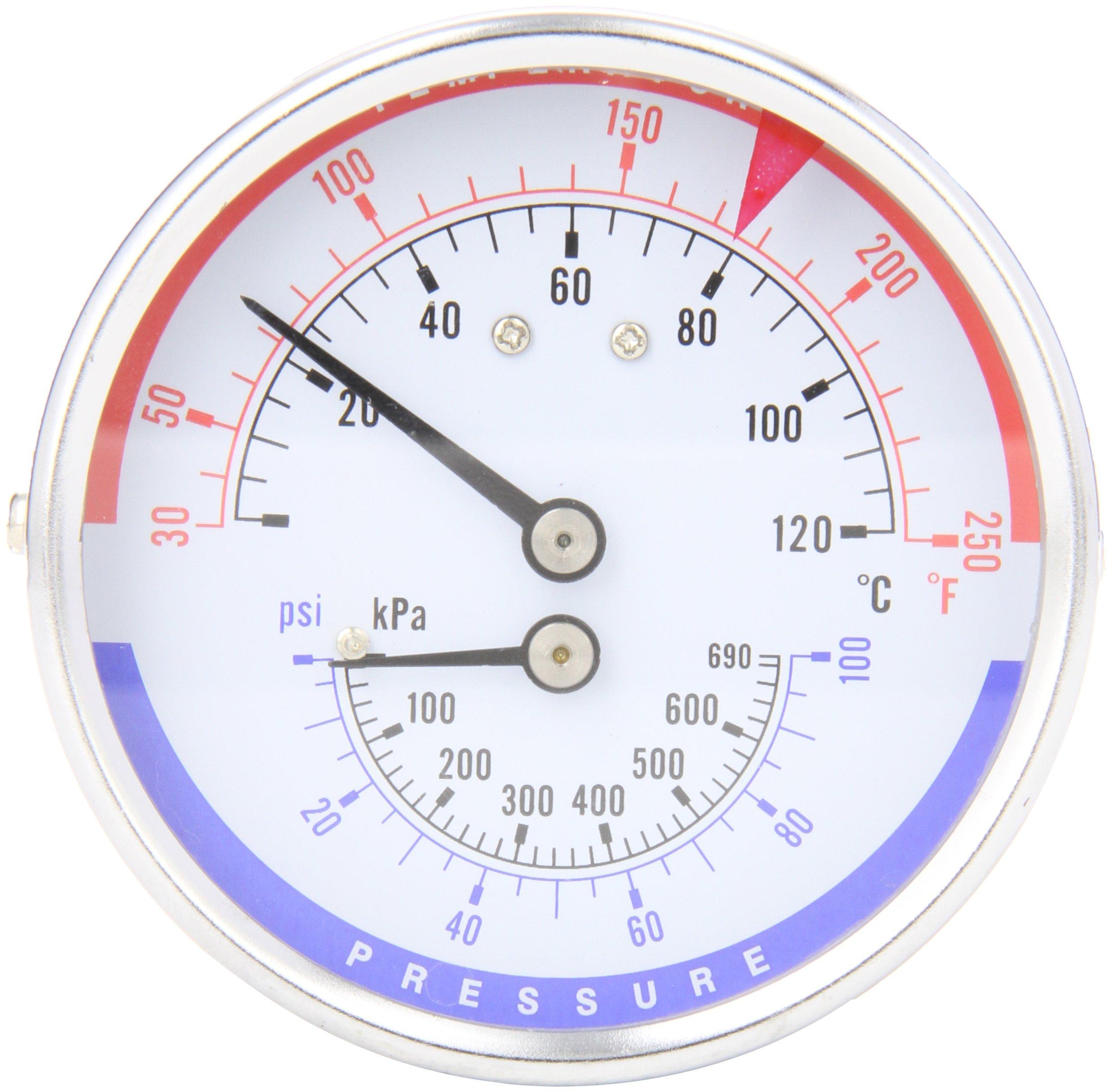 Trerice PTC14603 Rear Stem Tridicator, 1/2'' NPT Connection, 3'' face, 30-250˚F/C & 0-100 PSI/KPA