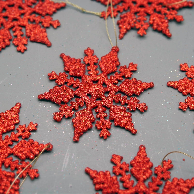 Le paquet de 6 D/écorations de No/ël de Flocon de neige dAccrochage Rouges Brill/ées DP21