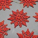 Le paquet de 6 Décorations de Noël de Flocon de neige d'Accrochage Rouges Brillées (DP21)