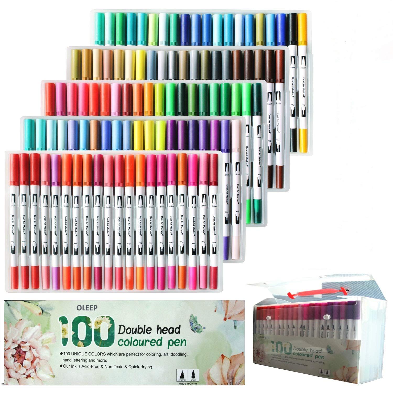 OLEEP 100/Colores Doble Cepillo Acuarela Bol/ígrafo Art rotuladores con Punta Cepillo 2/mm y 0,4/mm Punta Fina para los Libros de Colorear para Adulto Manga Dibujo boceto de Pintura