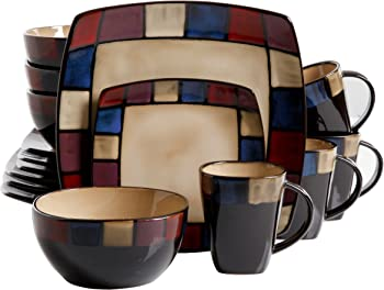 Gibson Home Soho Lounge Square Stoneware 16-piece Dinnerware Set