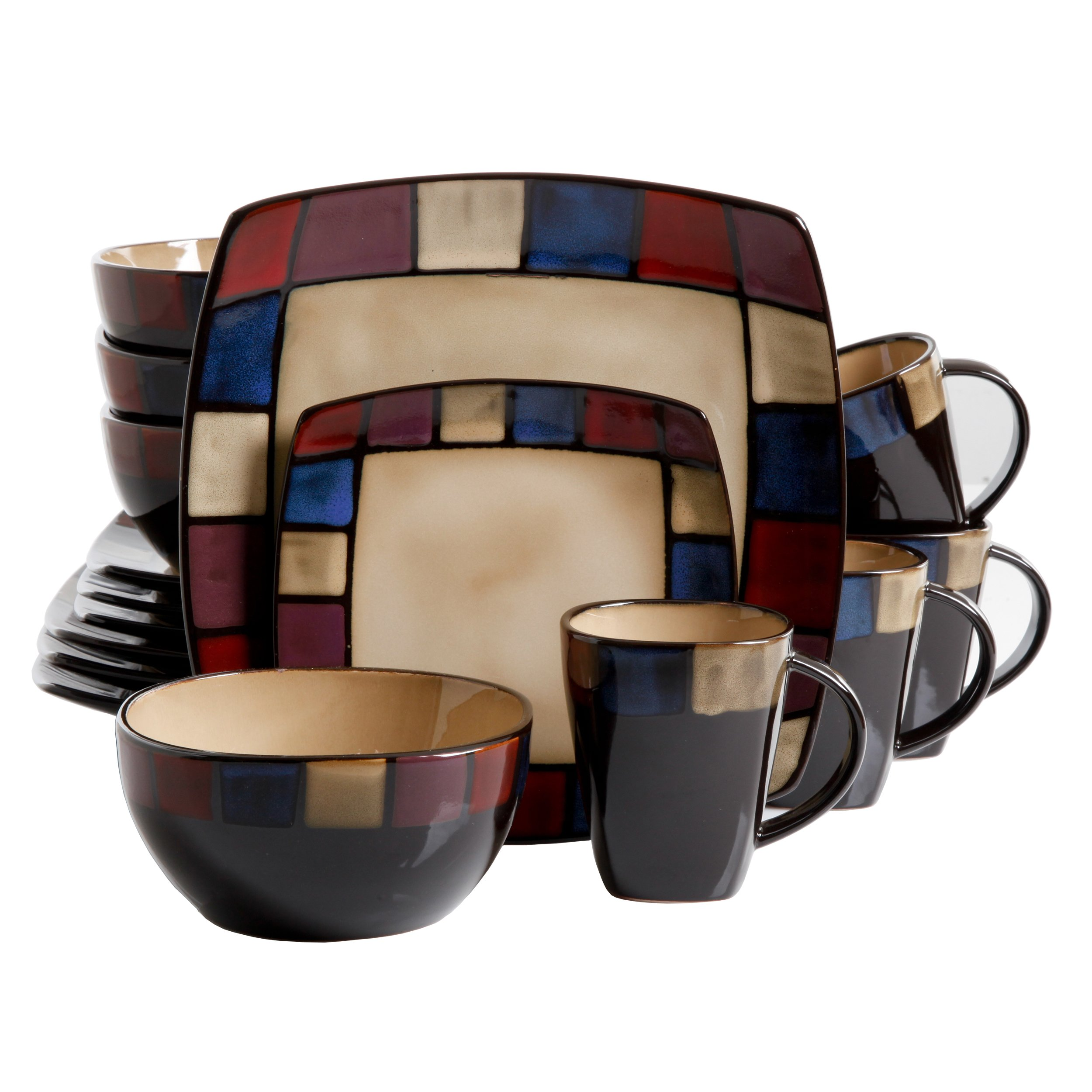 Gibson Elite Soho Lounge Square 16-Piece Mosaic Reactive Glaze Dinnerware Set Service of 4, Stoneware, Multicolor, by Gibson