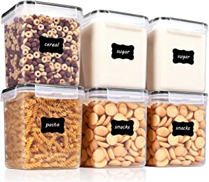 Large Airtight Food Storage Containers With Lids 6 Piece Set Leak-proof & BPA Free Kitchen Pantry Storage Containers for Sugar,Flour and Baking Supplies Wiht 24 Labels Black 1.6L (Black-6 PCS)