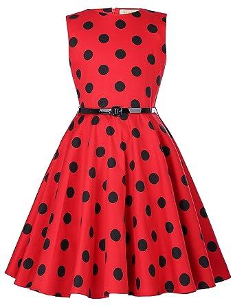 f7fbd71d55b Kate Kasin Girls Vintage Dress 1950 s Retro Sleeveless Polka Dot Dress with  Belt