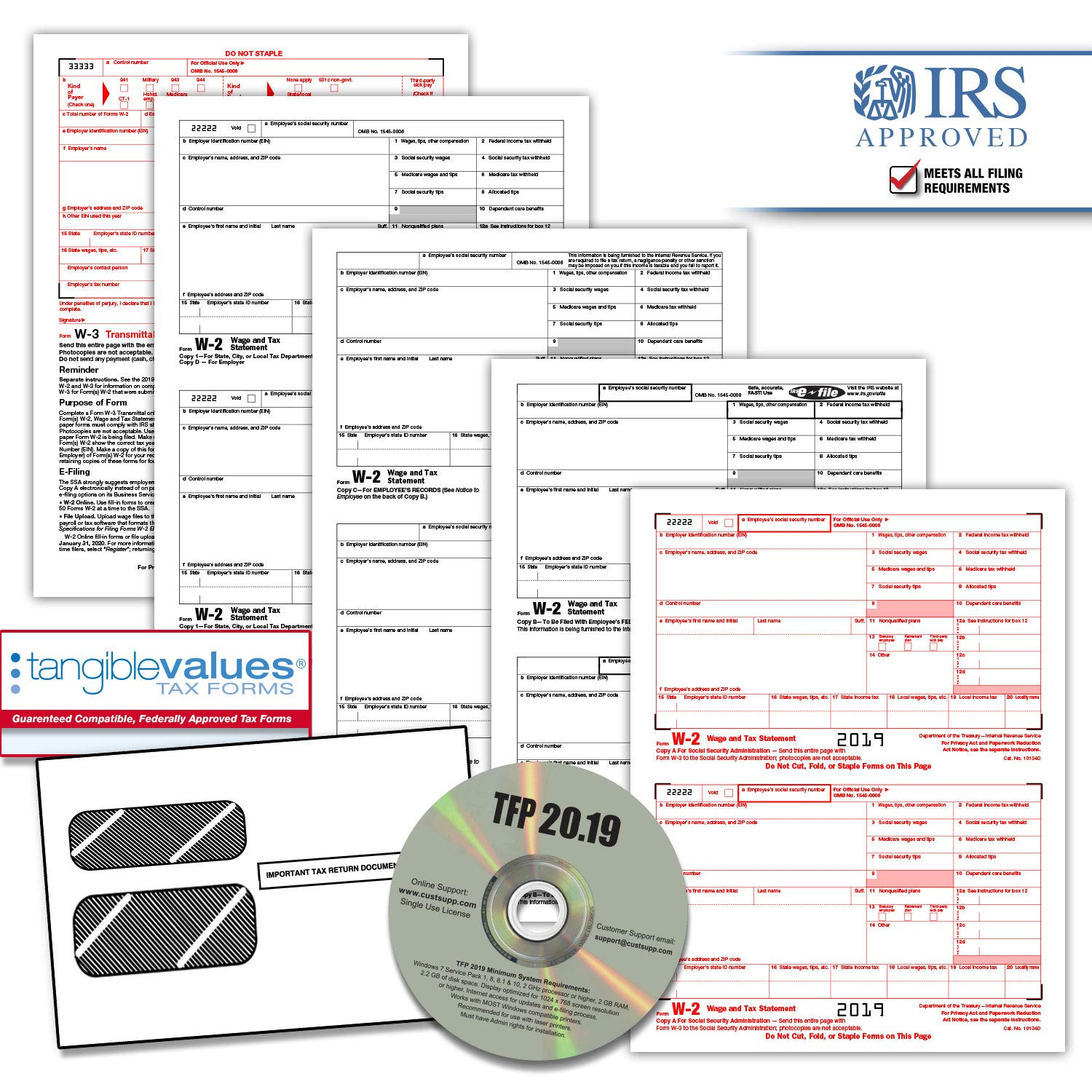 Tangible Values W-2 Laser Forms (4-Part) Kit with Envelopes Plus TFP Software for 25 Employees (2019) by Tangible Values Business Solutions