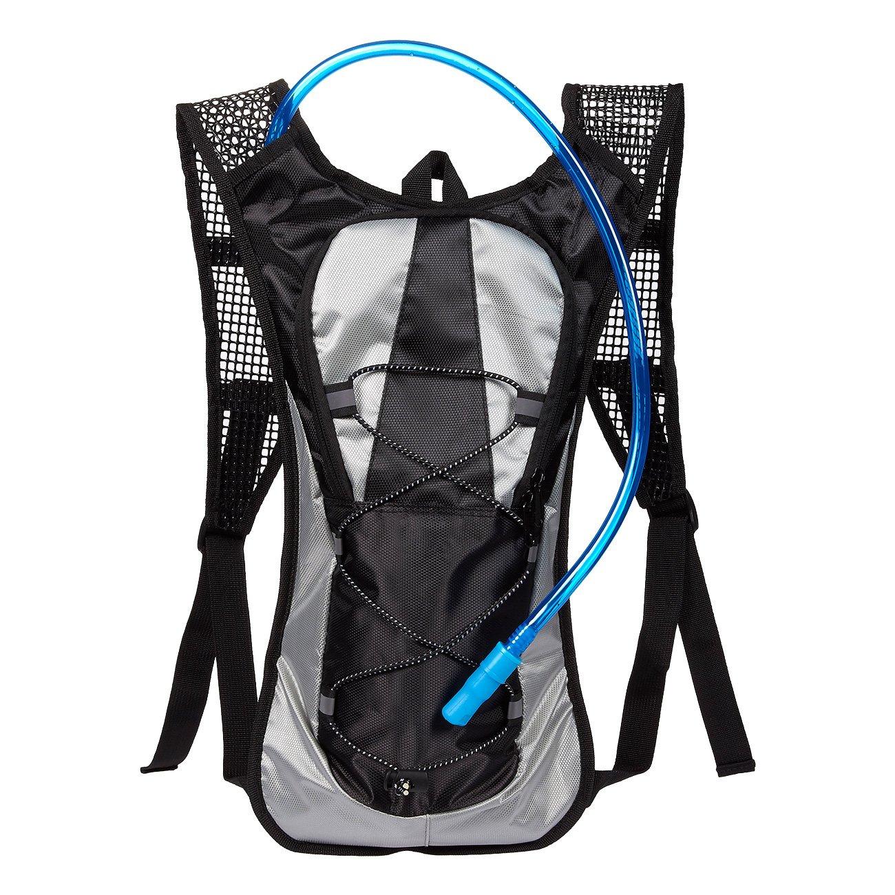 Juvale Mochila de hidratació n con Bolsa de Agua de 2 litros, Ideal para Ciclismo, Senderismo, Correr, Ciclismo, Todas Las Actividades al Aire Libre, Color Gris
