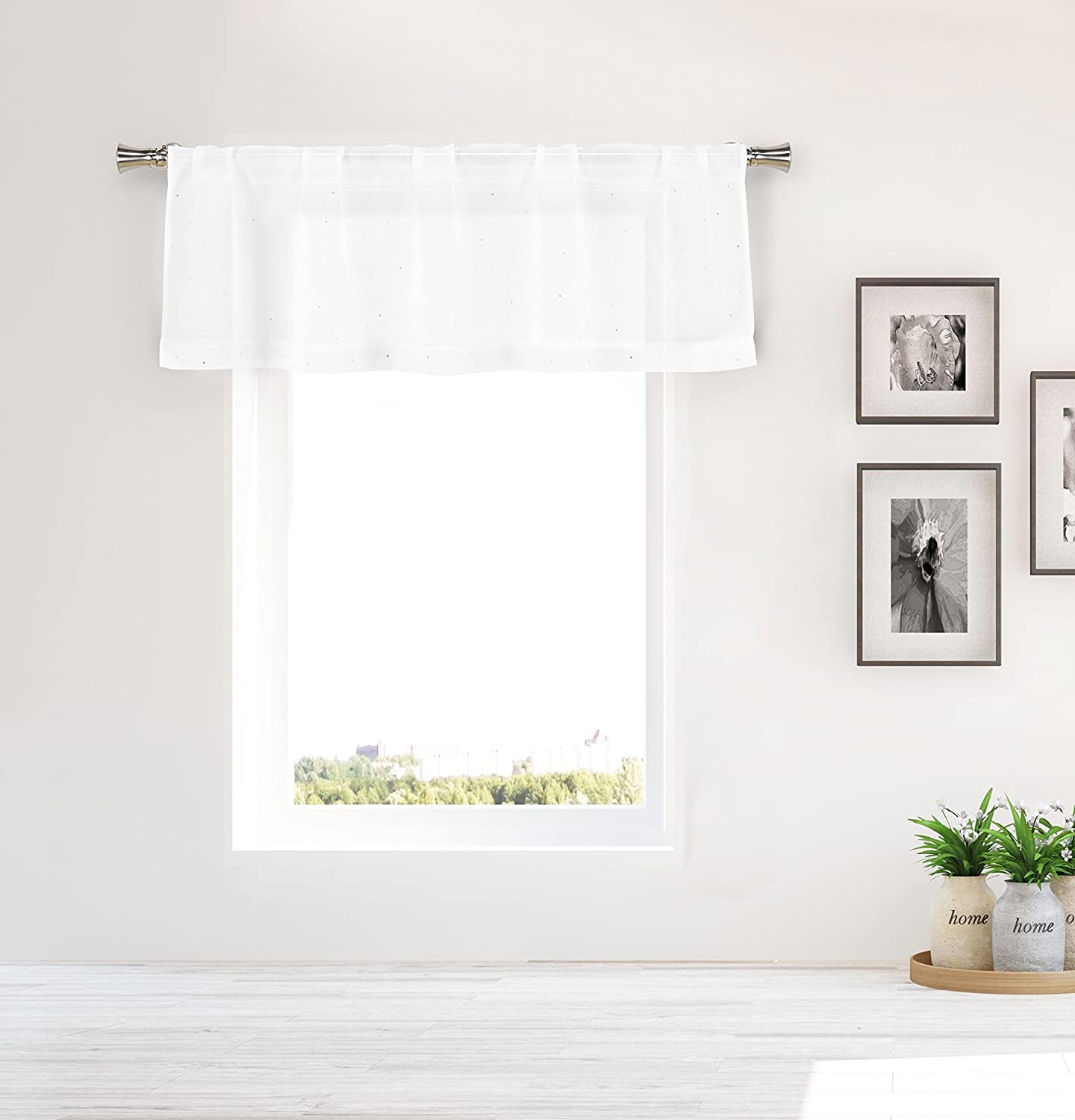 2 Tiers 36in L Each 8 to INFINITY BAM-DANI-KWC-TIERS-24 Pair Bathroom and More DANI Collection SHEER 2 Piece Window Curtain Caf/é//Tier Set Pure White with Crystal Rhinestones