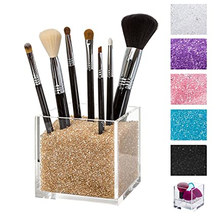 Acrylic Makeup Organizer u0026 Counter Top Makeup Brush Cup Holder with GOLD Diamond Beads. #  sc 1 st  Amazon.com & Amazon.com: Acrylic Makeup Organizer u0026 Counter Top Makeup Brush Cup ...