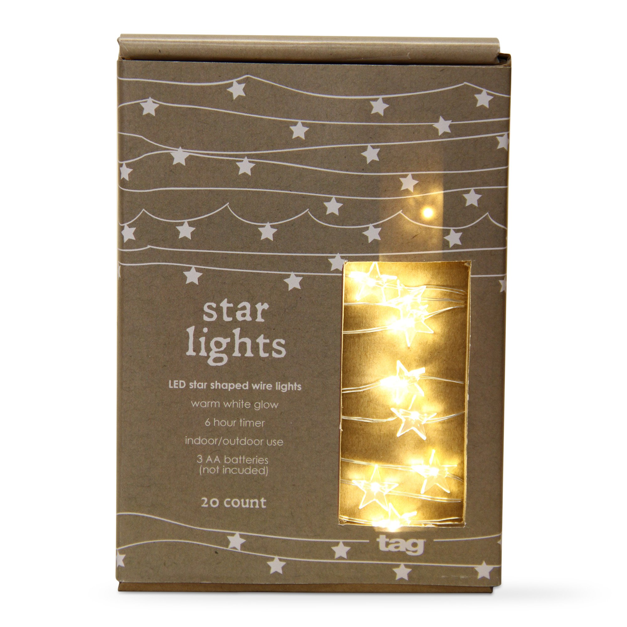 tag - Star Shaped Holiday LED Wire Lights, Perfect Addition to Home Décor, Clear (7 ft)