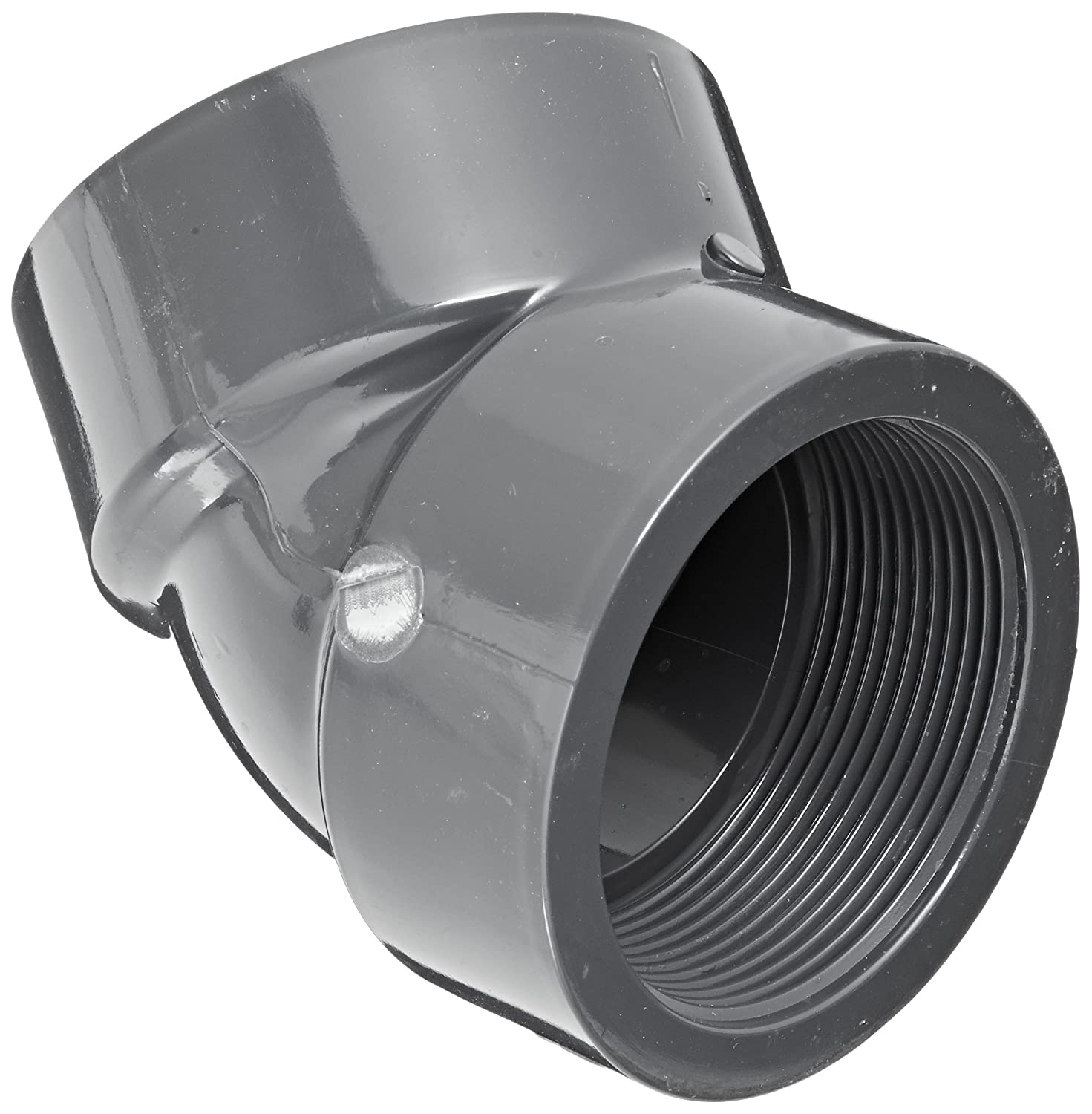 Spears 819 Series PVC Pipe Fitting 1 NPT Female 1 NPT Female Spears Manufacturing 819-010 Schedule 80 45 Degree Elbow