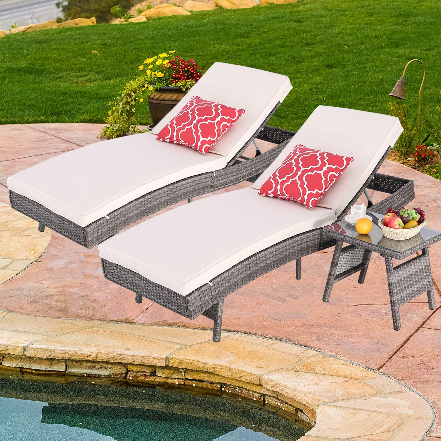Do4U Adjustable Patio Outdoor Furniture Rattan Wicker Chaise Lounge Chair Sofa Couch Bed with Cushion and Table -2 Pcs Chaise Lounge and a Table (8667-DRGY-3 Pcs)