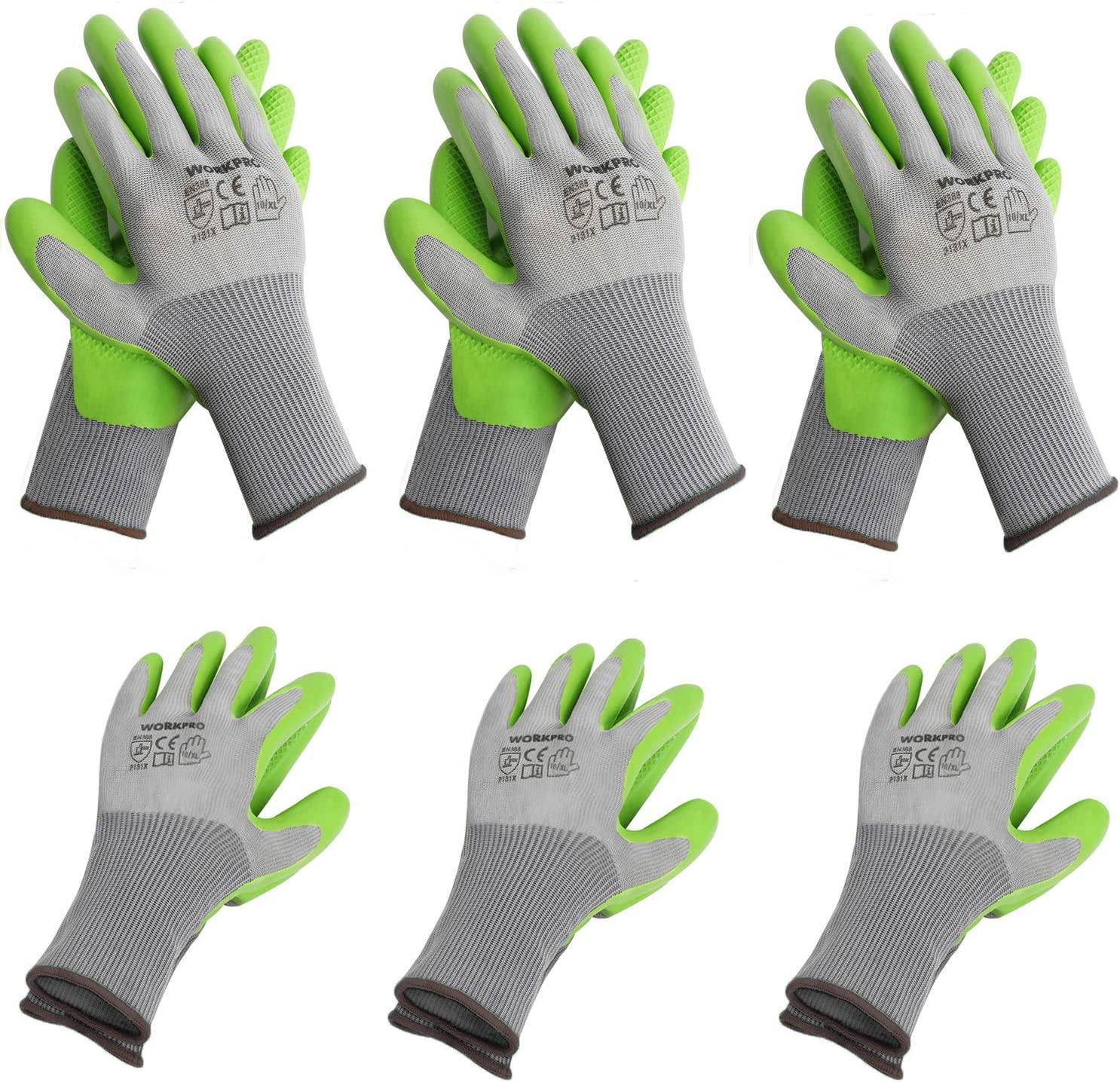 WORKPRO 6 Pairs Garden Gloves, Work Glove with Eco Latex Palm Coated, Working Gloves for Weeding, Digging, Raking and Pruning(XL)