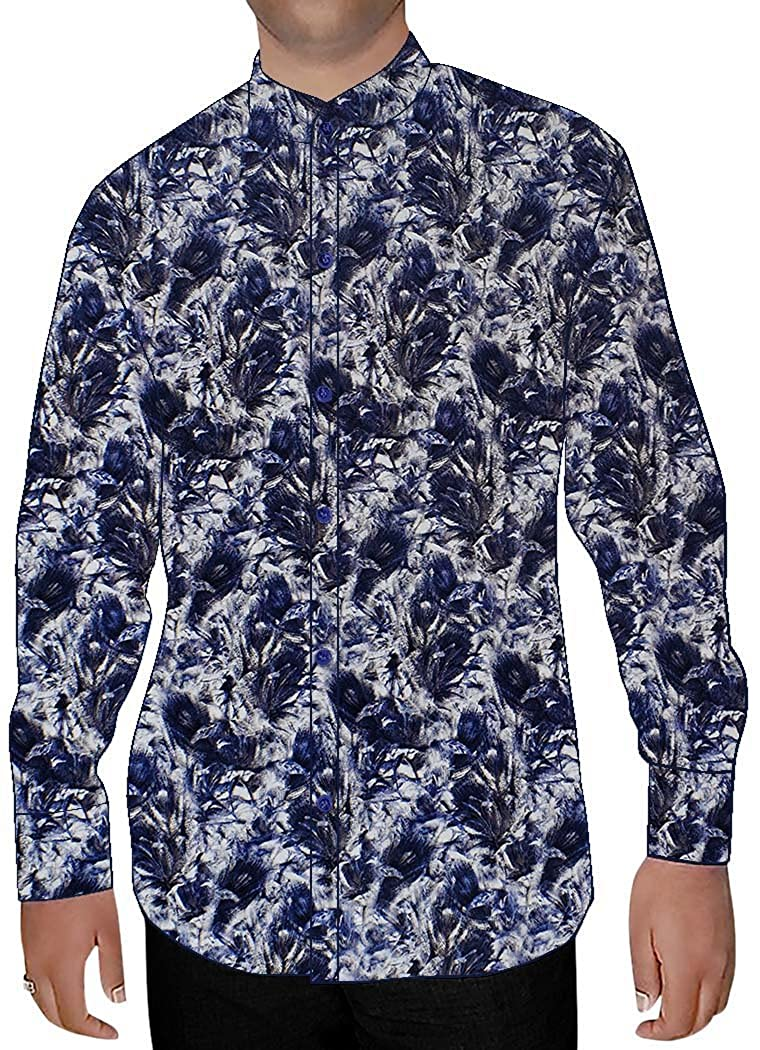INMONARCH Mens White Printed Nehru Collar Shirt Summer NSH15970XX-LARGE XX-Large White