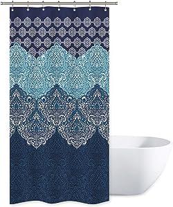 Riyidecor Boho Paisley Shower Curtain Set 36Wx72H Inch Floral India Bohemia Dark Navy Bathroom Decor Fabric Panel Polyester Waterproof with 7-Pack Plastic Shower Hooks
