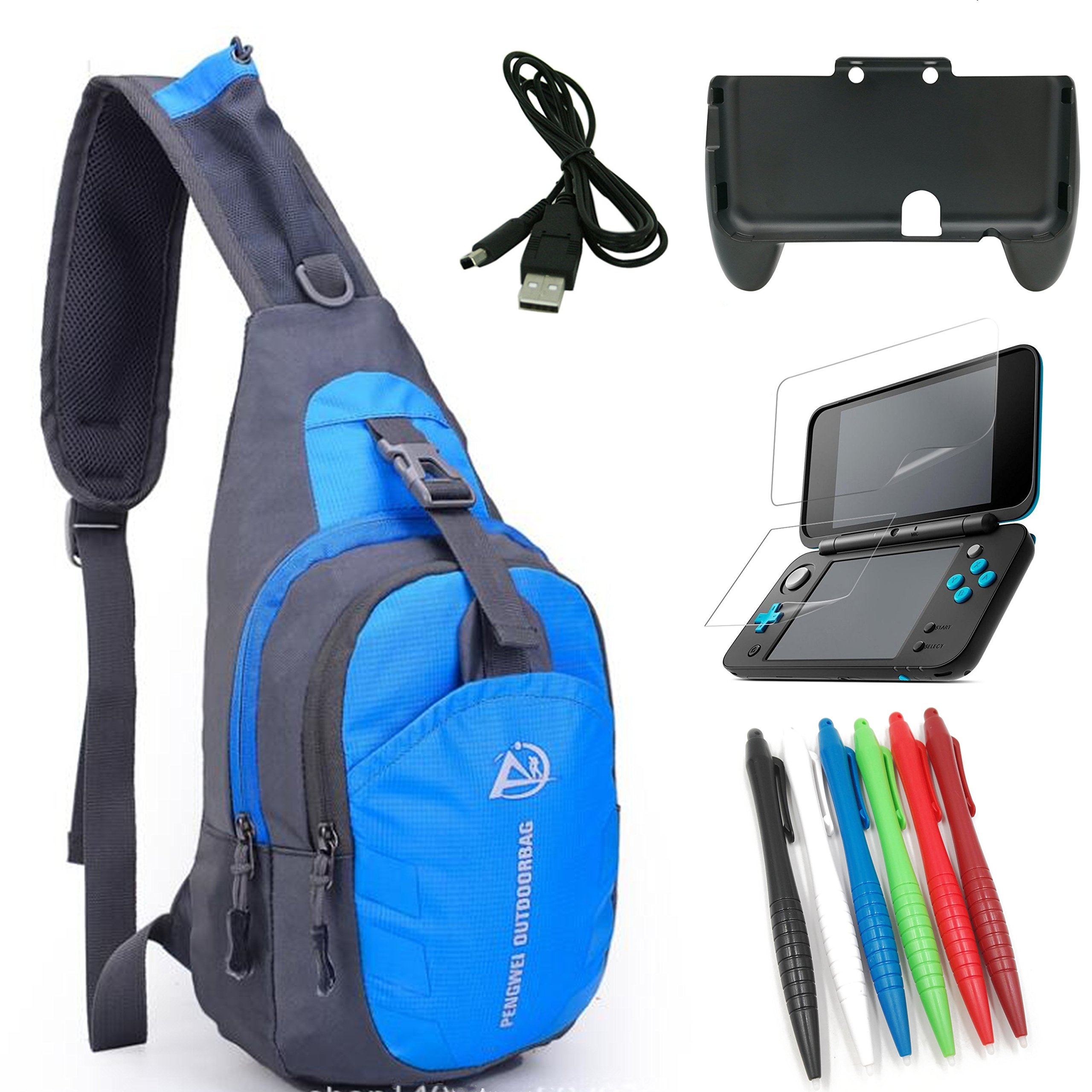 eLUUGIE 5 in 1 Crossbody Bag+Comfort Hand Grip with Stand for NEW Nintendo 2DS XL+New 2DS XL Screen Protector+2DS USB Charging Cable +Stylus Pen For New 2DS XL Travel Accessory New 2ds XL Travel Bag by eLUUGIE
