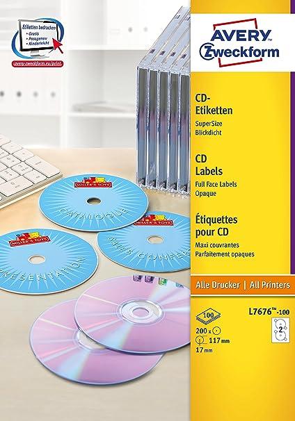 Avery España L7676-100 - Pack de 100 folios de etiquetas para CD ...