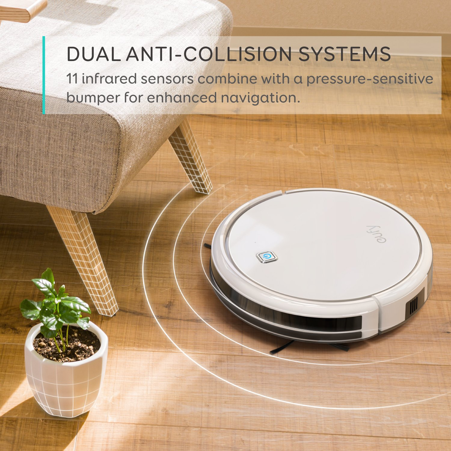 Eufy RoboVac 11, High Suction, Self-Charging Robotic Vacuum Cleaner with Drop-Sensing Technology and High-Performance Filter for Pet, Designed for Hard Floor and Thin Carpet