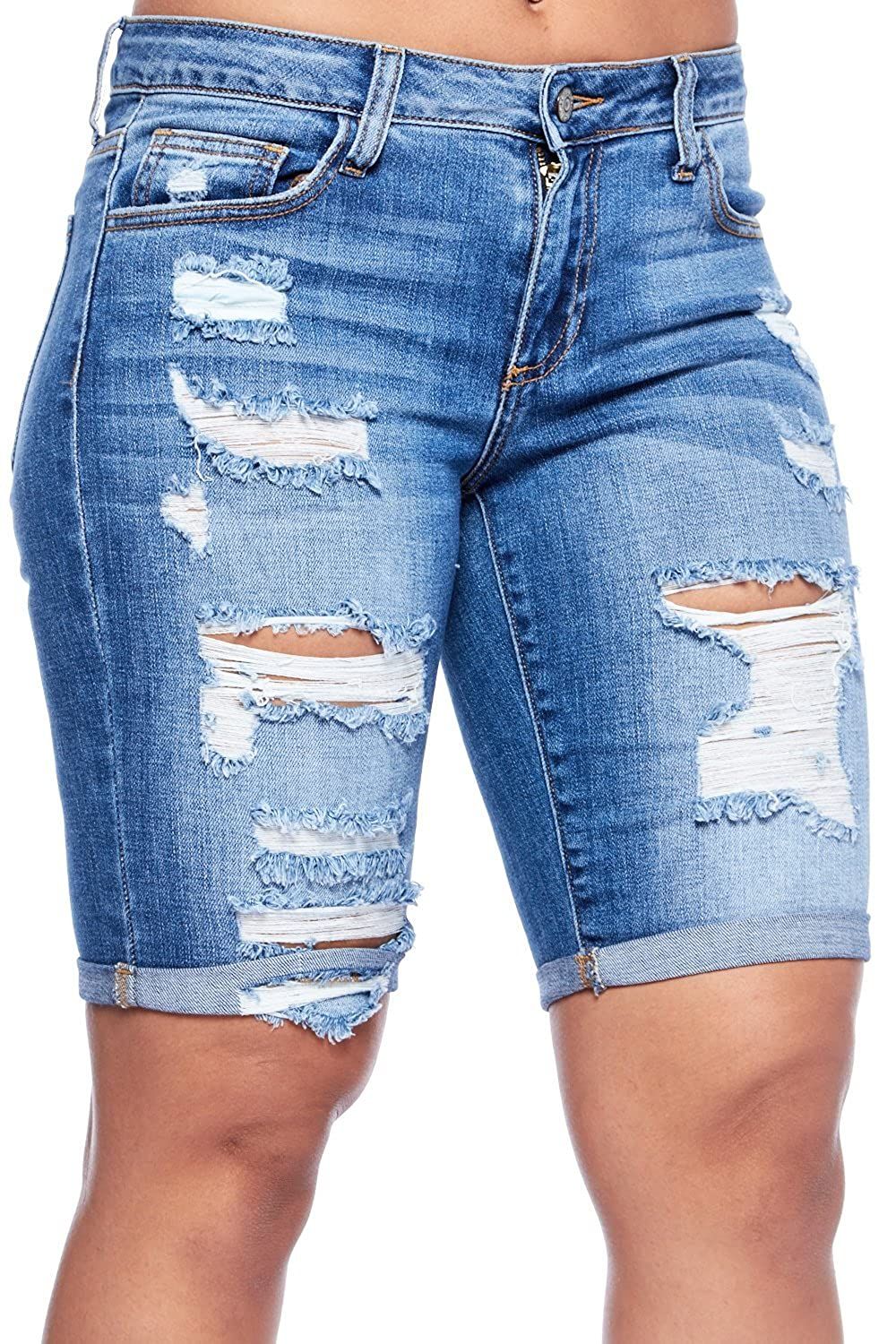 e353c0f1d91ba6 new Womens Mid Rise Destroyed Pocket Rolled Up Denim Shorts WV64847 ...