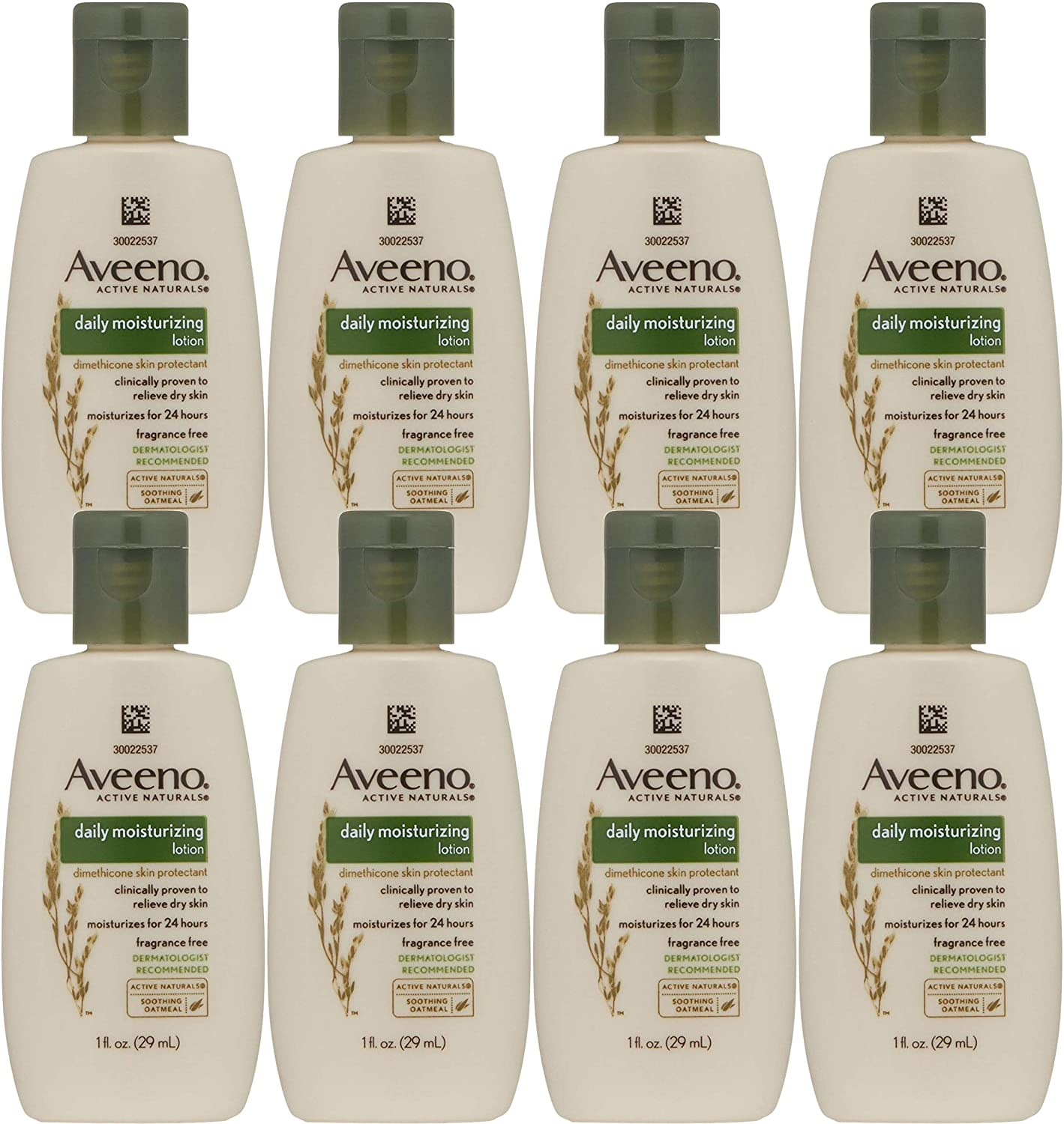 Aveeno Active Naturals Daily Moisturizing Lotion, Trial Size, 1 Ounce (Pack of 8)