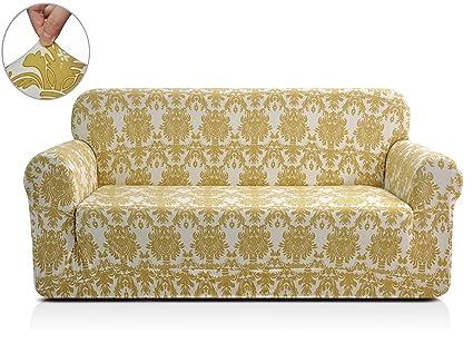 Marvelous Chunyi Printed Sofa Covers 1 Piece Spandex Fabric Slipcover Loveseat Yellow Flower Machost Co Dining Chair Design Ideas Machostcouk