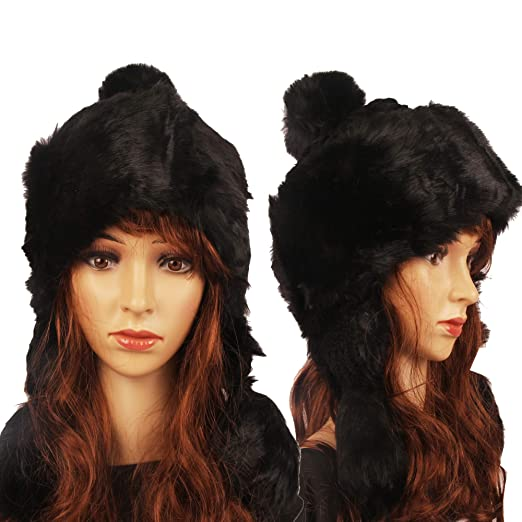 Amazon.com  Winter Faux Fur Women Winter Hat with Ear Flap Pom pom Knitted  Trapper Russian Aviator Trooper Hat Winter Snow Girls Hat (Black)  Clothing 583d1f2216a2