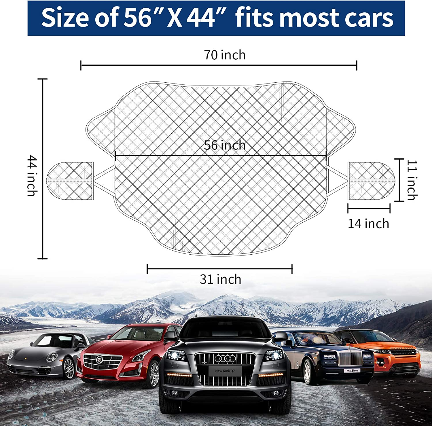 SOTOGASUKI Windshield Snow Cover Ice Frost Cover for Car Freeze Protector Winter Waterproof Wind-Proof Summer Auto Sun Shade All Weather Magnetic Edge Fits Most Cars
