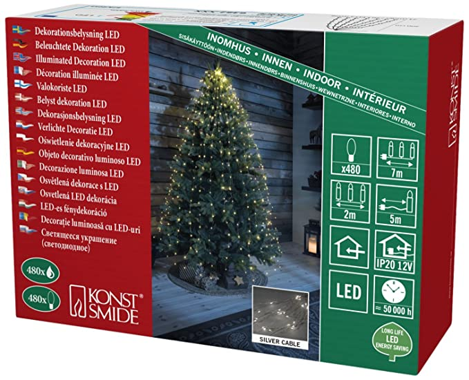 LED Lichterkette mit Glimmereffekt 120 bernsteinfarbene Dioden 60 glimmend 24V