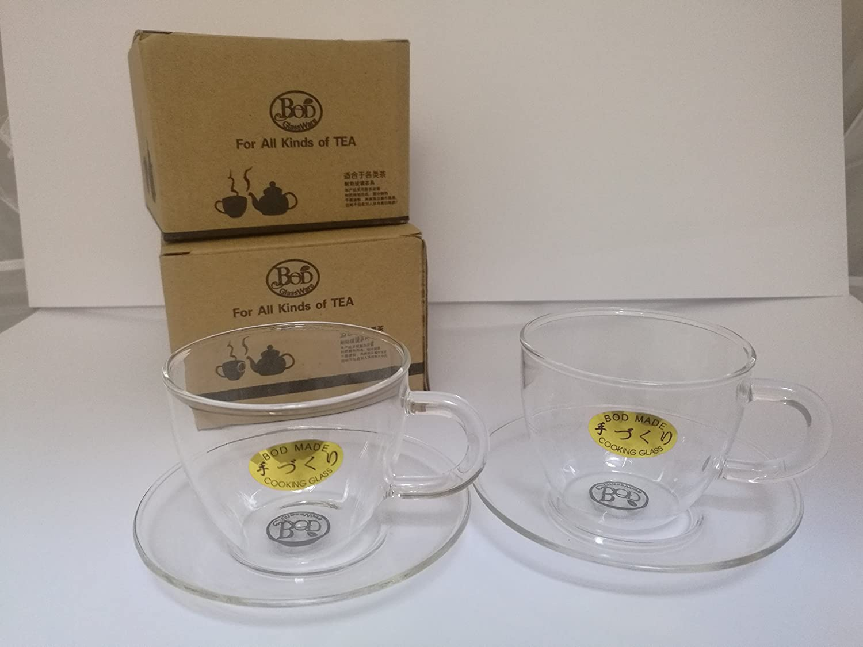 Green yiko Small Glass Tea Cup and Sauce x 2 BOD