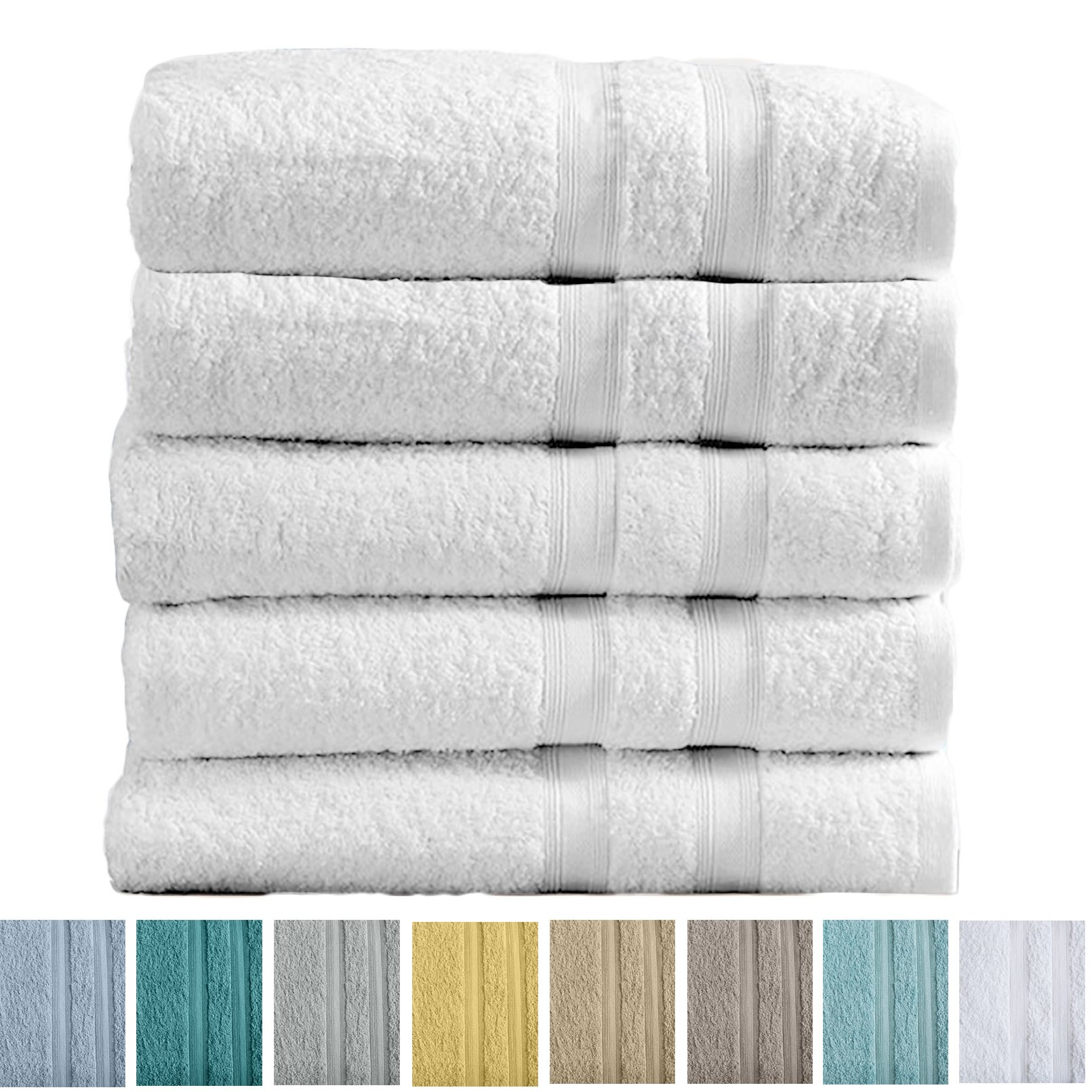 5-Pack Premium 100% Cotton Bath Towel Set (28 x 52 inch) Multipack For Home Spa Pool Gym Use. Quick-Drying and Extra Absorbent. Emelia Collection. (White)