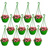 TrustBasket Colourful Plastic Hanging Basket with Bottom Saucer (Green) - Set of 12