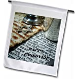 3dRose fl_37421_1 Matzoh Hebrew Nstar of David Passover Garden Flag, 12 by 18-Inch