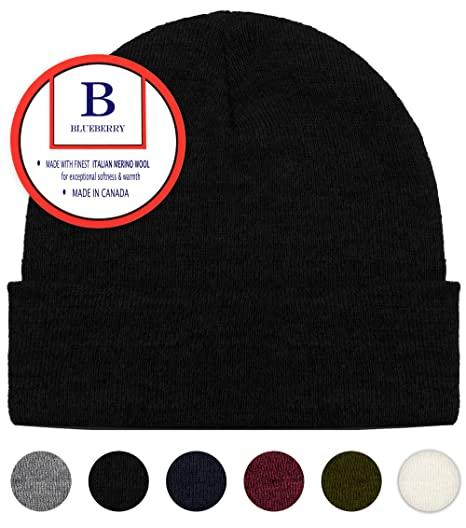 dd60ec55efe Blueberry Uniforms Merino Wool Beanie Hat -Soft Winter and Activewear Watch  Cap (Black)