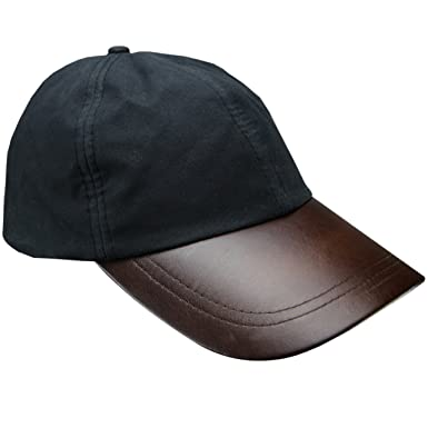 8651cd0802f20 New Mens Wax Baseball Cap Leather Peak Fishing Shooting Outdoor Waxed  Cotton Hat Brown Black Light
