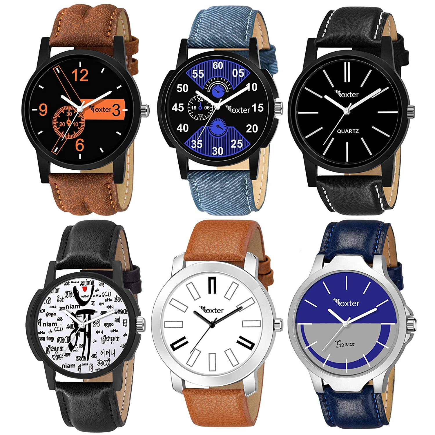 Foxter Pack of 6 Multicolour Analog Analog Watch for Men and Boys@Rs.499