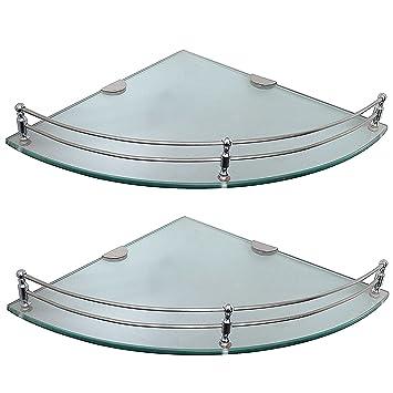 Klaxon 9 Inch Glass Bathroom Corner Shelf Set (Glossy, 2 Pieces)