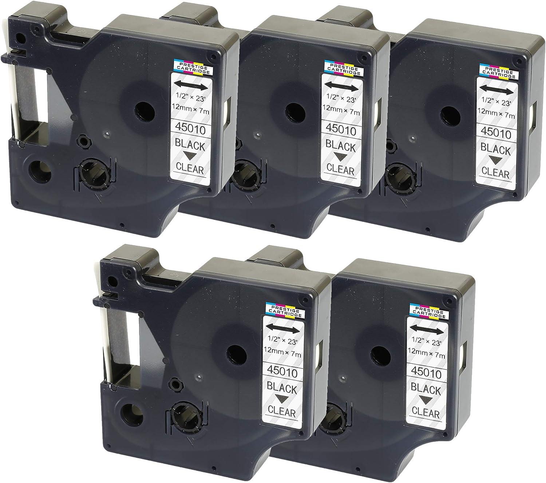 Prestige Cartridge 5x D1 45800 noir sur transparent 19mm x 7m Rubans /Étiquettes compatibles avec DYMO LabelManager LM 100 150 160 200 210D 280 300 350 360D 400 420P 450 500TS PnP LabelWriter 450 Duo