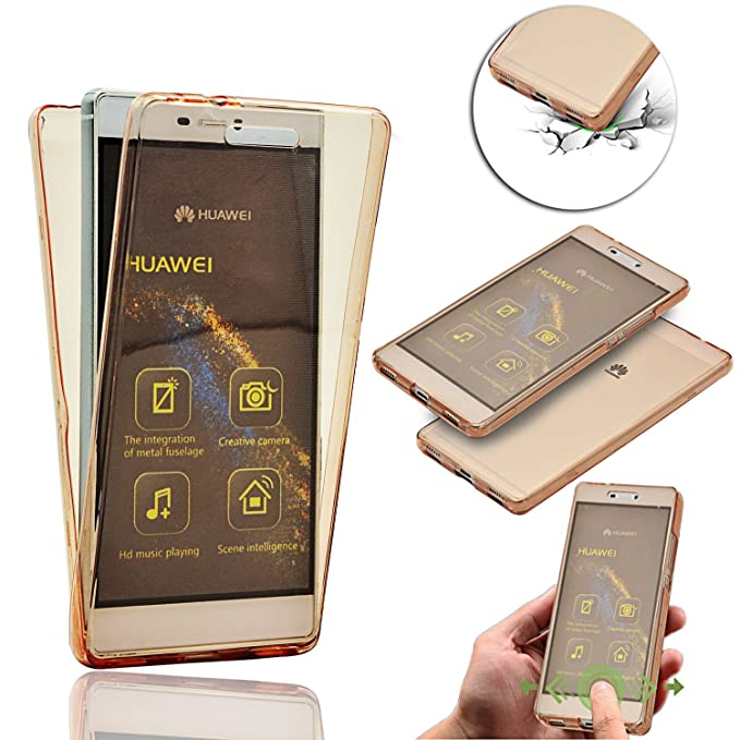 Huawei P8 Lite Doble Case Cover, Vandot 360 Grados Smart Case Funda Carcasa de Silicona TPU Doble Frontal y Trasera Full Body Protector Ultra Thin ...